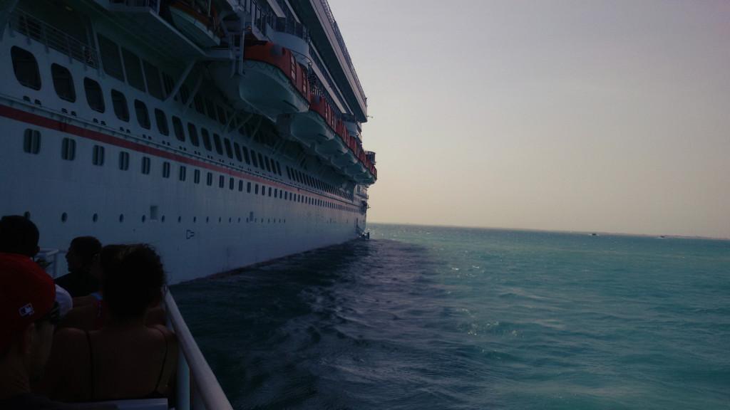 Belize, wejście z Katamaranu na statek
